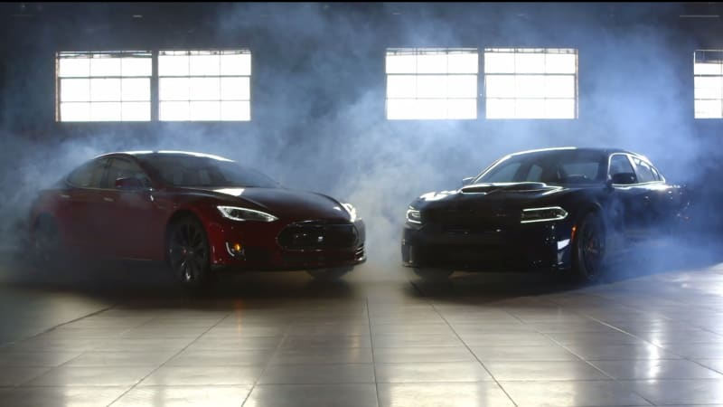 Dodge challenger hellcat and tesla model s p85d in motor Motor trend head 2 head