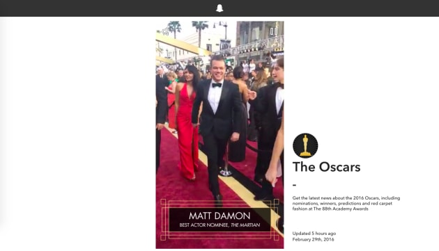 Snapchat Stories come to the browser with Oscars roundup