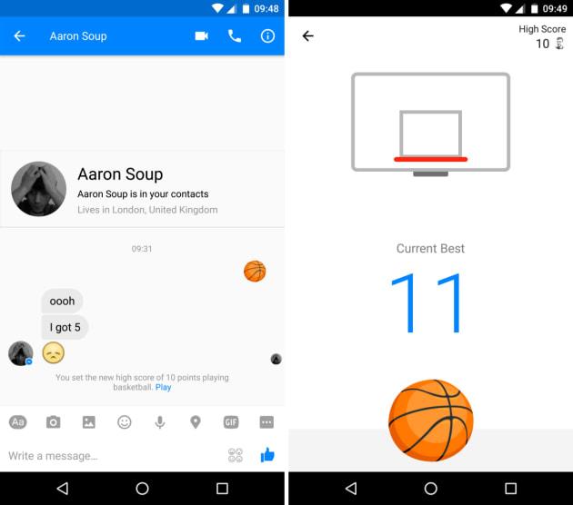 Facebook Messenger has a hidden basketball game