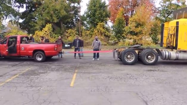 Video  Chevy Silverado takes on big rig in tugofwar battle