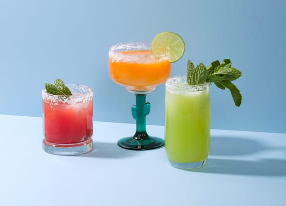 Mint and melon margaritas