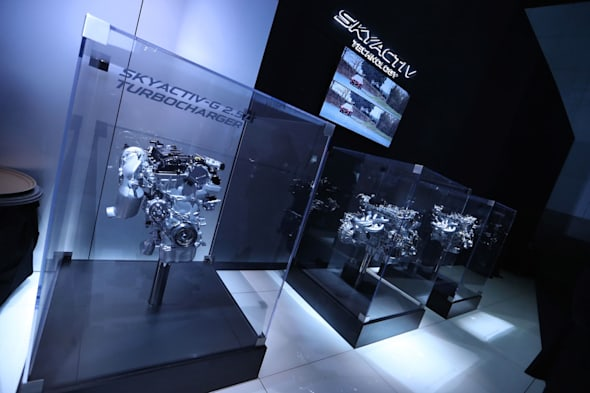LOS ANGELES, CA - NOVEMBER 16:  The Mazda SKYACTIV Technology display is seen on the Mazda showroom floor at the L.A. Auto Show on November 16, 2016 in Los Angeles, California.  (Photo by Victor Decolongon/Getty Images for Mazda Motor Co.)