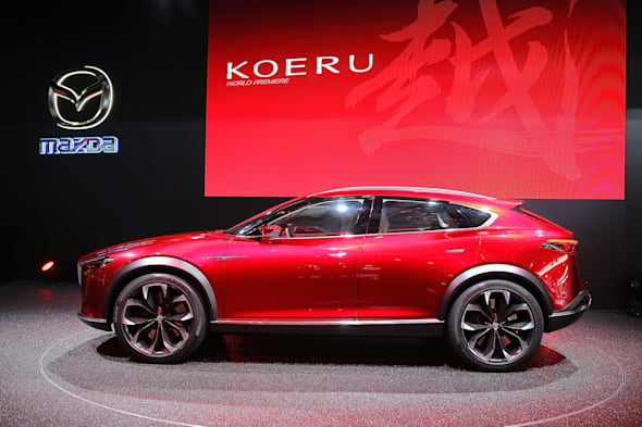 FRANKFURT AM MAIN, GERMANY - SEPTEMBER 15:  Concept car Koreu of MAZDA Motor Corporation is displayed during the Frankfurt Motor Show on September 15, 2015 in Frankfurt am Main, Germany.  (Photo by Thomas Niedermueller/Getty Images for Mazda Motor Co)
