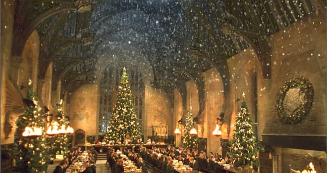 harry potter, great hall, hogwarts, christmas