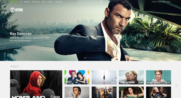 This image provided by Hulu shows Showtime programming, which be available on the Hulu platform ahead of the July 12 premiere of Season 3 of �Ray Donovan.� Showtime is trimming its price to $9 a month for Hulu subscribers in a deal that will make it the first premium pay TV service offered through Hulu. (Hulu via AP)