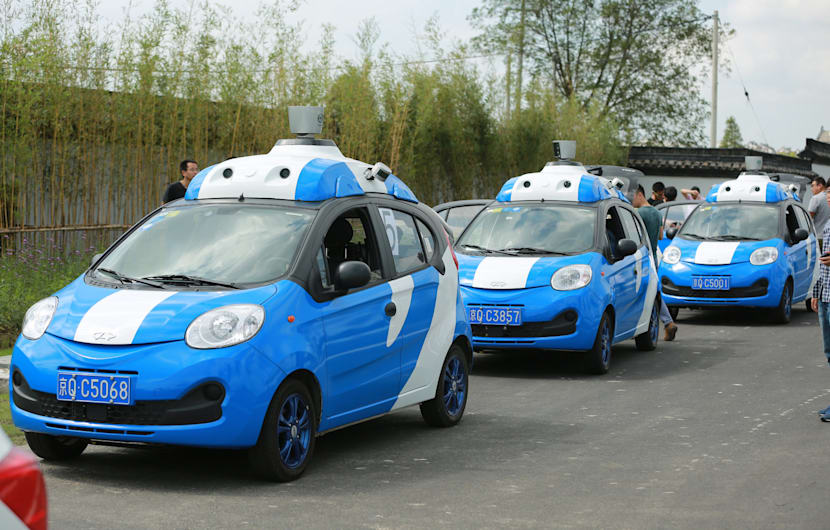 JIAXING, CHINA - NOVEMBER 17:  Baidu driverless cars in test run during the 3rd World Internet Conference (WIC) on November 17, 2016 in Jiaxing, Zhejiang Province of China. The 3rd World Internet Conference (WIC) - Wuzhen Summit kicks off at Wuzhen township on Wednesday and will last to Nov 18, in Zhejiang Province.  (Photo by VCG/VCG via Getty Images)