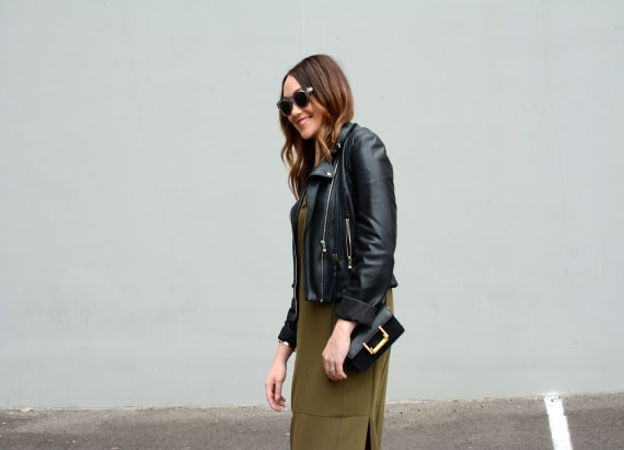 Street style tip of the day: Maxi and leather
