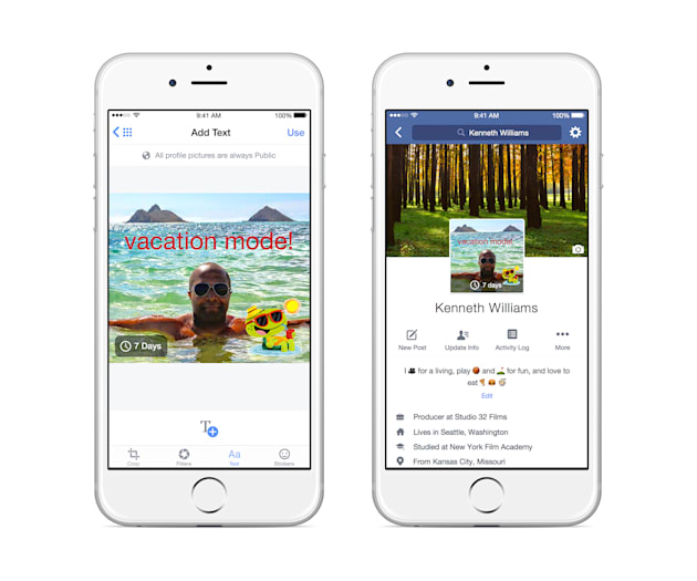 Facebook brings videos and temporary pictures to your profile