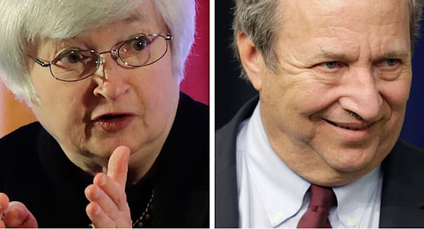 This photo combo shows Fed Vice Chair Janet Yellen, left, and former Treasury Secretary Lawrence Summers. Fed Chairman Ben Bernanke is expected to step down when his second term ends in January 2014, and the contest to succeed him has turned into a public struggle between Yellen and Summers. (AP Photo/Eugene Hoshiko, J. Scott Applewhite)