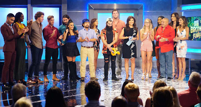 The cast of Big Brother 18 with host Julie Chen on the Big Brother season 18 live finale.  BIG BROTHER airs Sundays and Wednesdays (8:00-9:00 PM, ET/PT); and Thursdays (9:00-10:00 PM, live ET/delayed PT), featuring the live eviction show hosted by Julie Chen. Photo: Sonja Flemming/CBS ©2016 CBS Broadcasting, Inc. All Rights Reserved