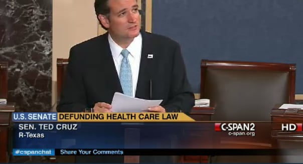 Texas US Senator Ted Cruz Budget Battle Obamacare