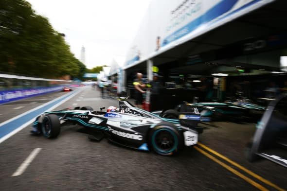 2016/2017 FIA Formula E Championship.Buenos Aires ePrix, Buenos Aires, Argentina.Saturday 18 February 2017Mitch Evans (20, Panasonic Jaguar Racing) leaves the garage.Photo: Zak Mauger/LAT/Formula Eref: Digital Image _L0U8332