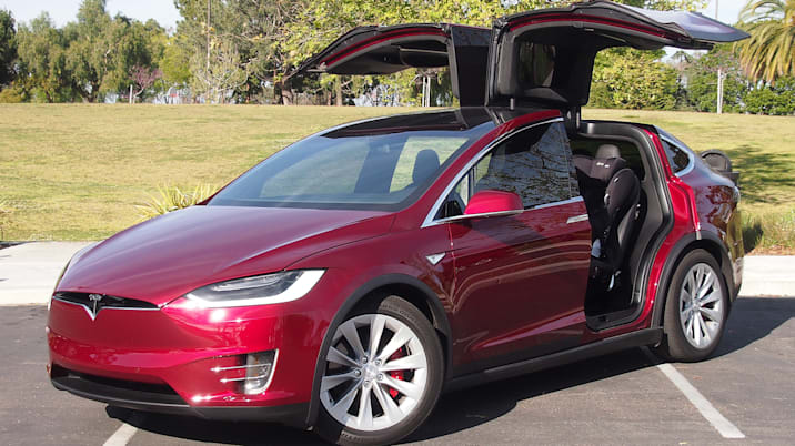 tesla model x with open doors
