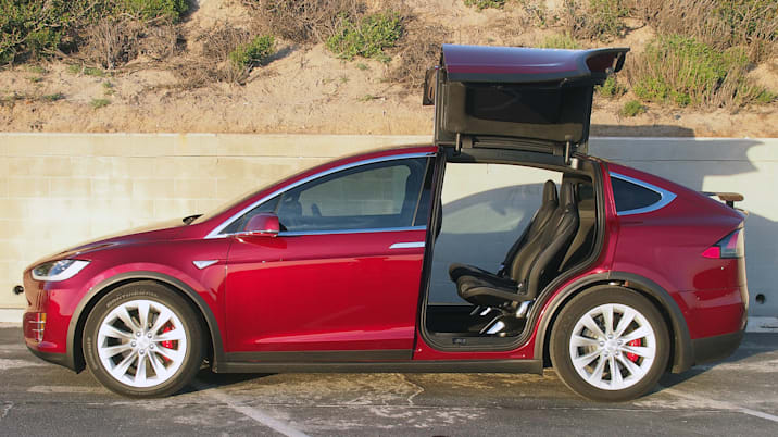 tesla model x with open falcon wing doors