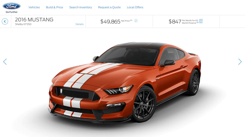 Ford flips switch on GT350, GT350R configurators
