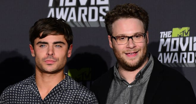 Zac Efron and Seth Rogen at the 2013 MTV Movie Awards