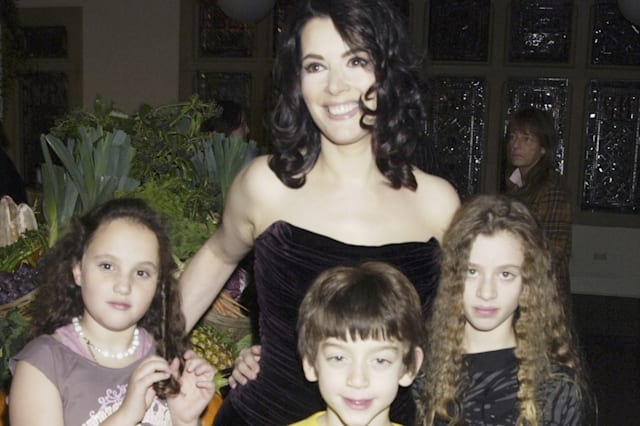 Nigella Lawson with her step-daughter Phoebe and her children Bruno and Cosima