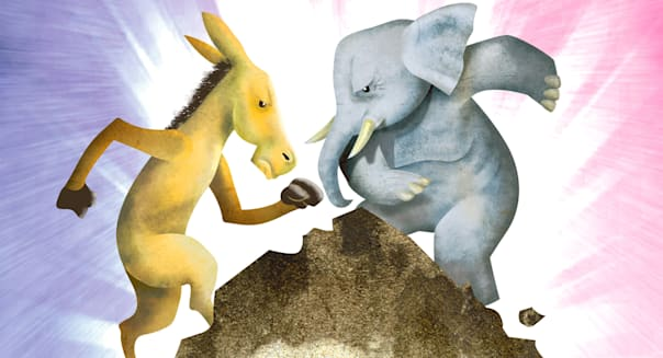 USA - 2012:  Hector Casanova illustration of the Democrat donkey fighting it out with the Republican elephant on top of the so called 'fiscal cliff.' (The Kansas City Star/MCT via Getty Images via Getty Images)