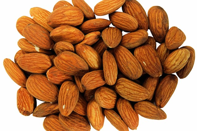 close-up of unpeeled almonds