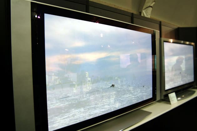 LG Electronics 60 inch HDTV sits on display at the press ope