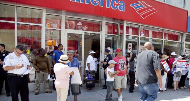 Outraged senior citizens stage a protest at the Bank of America asking for big banks to pay their share in order to save Medicar