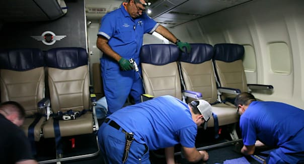 Seat Squeeze (In this Sept. 23, 2013 photo, Southwest Airlines aircraft technicians install newer, skinnier seats on a 737 at th