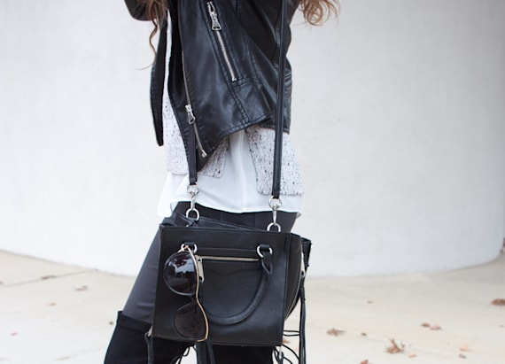Leather jacket & lace-up boots make a perfect pair