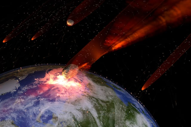An illustration of a large asteroid strike on Earth. An impact this large would result in the extinction of most all life on Ear
