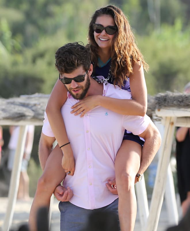 """51807313 Former """"The Vampire Diaries"""" star Nina Dobrev packs on the PDA with her boyfriend Austin Stowell on the beach in Saint-Tropez, France on July 24, 2015. Nina looked to be in high spirits despite rumors that she's been depressed since her exit from her former TV series. FameFlynet, Inc - Beverly Hills, CA, USA - +1 (818) 307-4813 RESTRICTIONS APPLY: USA ONLY"""