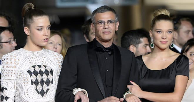 Adele Exarchopoulos, Abdellatif Kechiche, and Lea Seydoux at the 2013 Cannes Film Festival