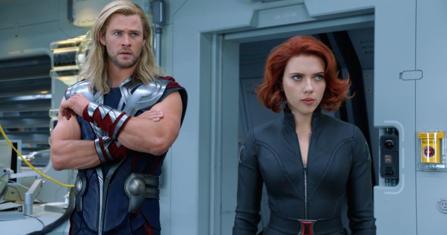 """Marvel's The Avengers"" ..Thor (Chris Hemsworth) and Black Widow (Scarlett Johansson)..Ph: Film Frame..� 2011 MVLFFLLC. TM & � 2011 Marvel. All Rights Reserved."