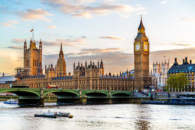The Palace of Westminster in London in the evening