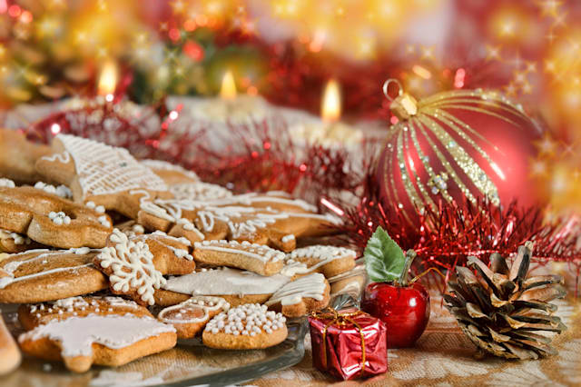 Plate full of Christmas gingerbreads - sweet food