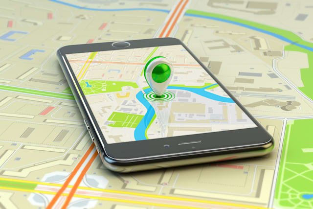 Mobile gps navigation, travel destination, location and positioning concept