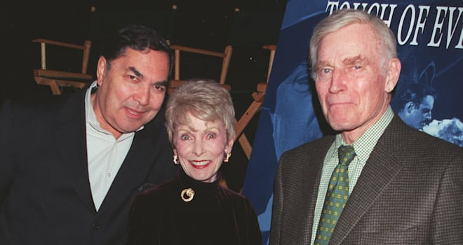 Valentin de Vargas, Janet Leigh, and Charlton Heston