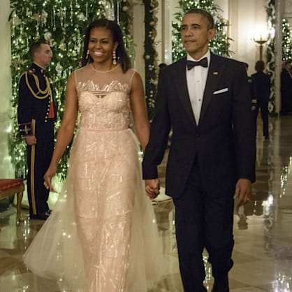 Michelle Obama embraced holiday sparkle in Monique Lhuillier