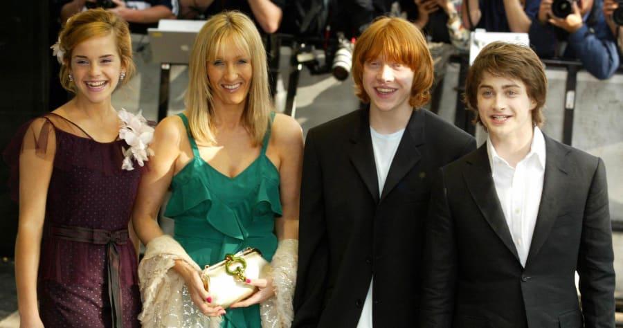 From left Emma Watson, JK Rowling, Ruper