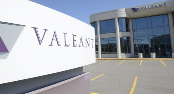 This May 27, 2013 photo shows the head office and logo of Valeant Pharmaceuticals in Montreal. Valeant Pharmaceuticals will pay about $1 billion to buy Sprout Pharmaceuticals, the maker of the first prescription drug designed to boost sexual desire in women. The deal Thursday, Aug. 20, 2015,  comes one day after regulators approved the pill. Valeant expects the Sprout pill, Addyi, to be available in the United States in the fourth quarter. (Ryan Remiorz/The Canadian Press via AP) MANDATORY CREDIT