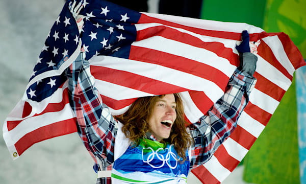 Feb. 17, 2010 - Vancouver, BC, USA - USA's Shaun White celebrates after winning the gold medal in the men's halfpipe competition