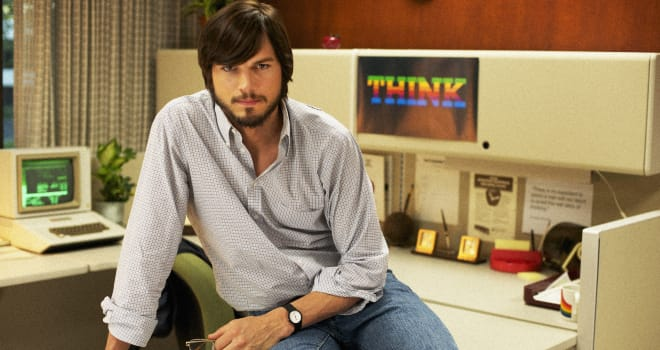 This undated publicity photo released by the Sundance Institute shows Ashton Kutcher as Steve Jobs in the film,