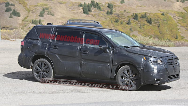 Subaru's three-row Tribeca replacement spotted testing with Explorer and CX-9 in tow