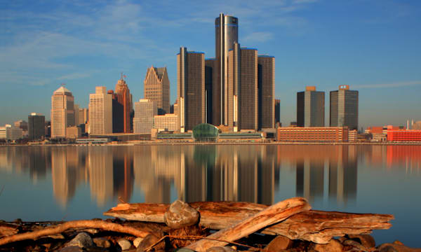 Detroit reflection in river