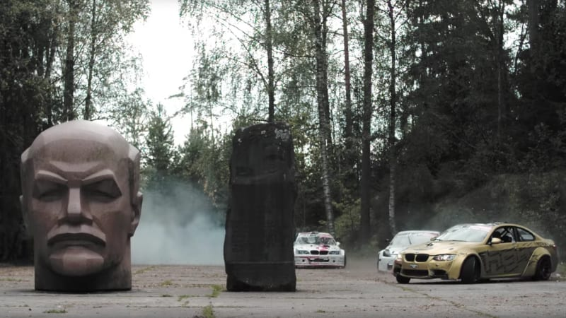 Epic Hooning: 3 cars drift an abandoned Soviet missile launch site