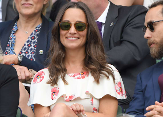 Pippa Middleton looks pretty in poppies at Wimbledon