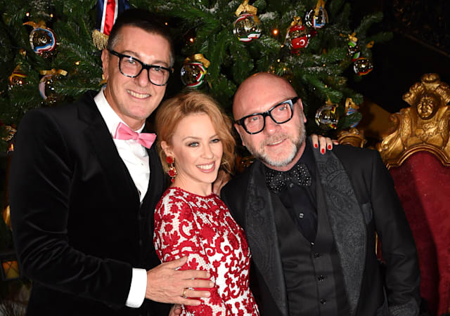 Mandatory Credit: Photo by Richard Young/REX (4255121u)Stefano Gabbana, Kylie Minogue and Domenico DolceClaridge's 'Dolce and Gabbana Christmas Tree Party', London, Britain - 19 Nov 2014