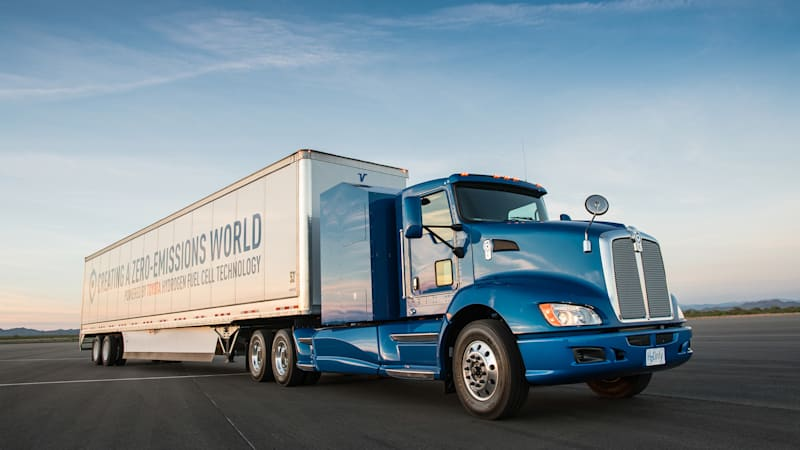 Watch Toyota's Project Portal hydrogen fuel cell truck drag race a diesel semi