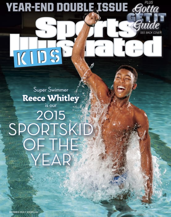 This undated handout image provided by Sports Illustrated Kids shows the cover of the December 2015 magazine, featuring swimmer Reece Whitley of Lafayette Hill, Pa. Whitley has been named 2015 SportsKid of the Year, by Sports Illustrated Kids. (Heinz Kleutmeier/Sports Illustrated Kids via AP)