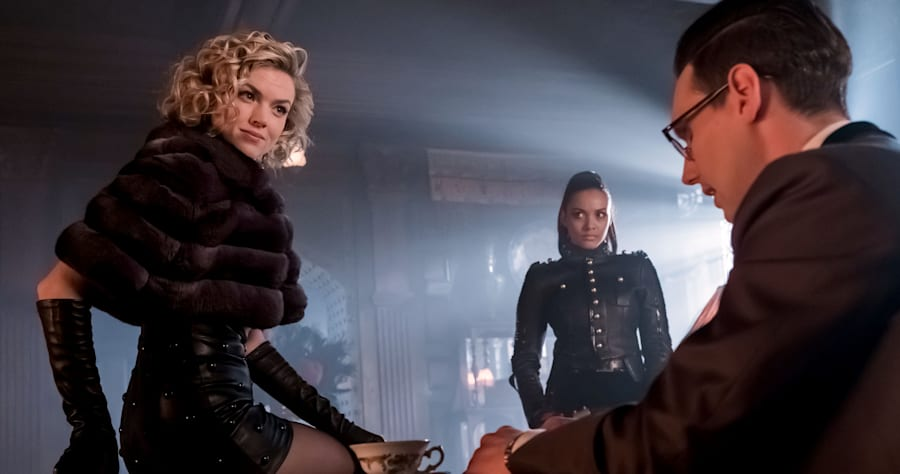 "GOTHAM: L-R: Erin Richards, Jessica Lucas and Cory Michael Smith in the ""Mad City: How The Riddler Got His Name"" spring premiere episode of GOTHAM airing Monday, April 24 (8:00-9:01 PM ET/PT) on FOX. Cr: Jeff Neumann/FOX"