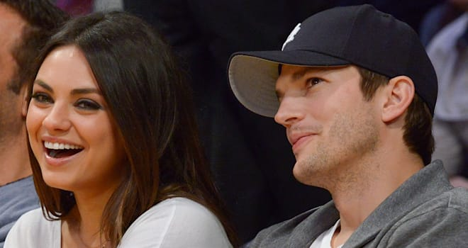Mila Kunis and Ashton Kutcher at a Lakers Game on February 12, 2013