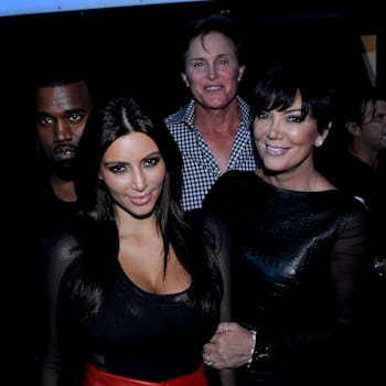 HOLLYWOOD, CA - NOVEMBER 21: (L-R) Kanye West, Kim Kardashian, Bruce Jenner and Kris Jenner backstage at FOX's 'The X Factor' Season 2 Top 10 Live Performance Show on November 21, 2012 in Hollywood, California. (Photo by FOX via Getty Images)